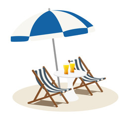 Beach parasol and chair with glass beer (2 set)