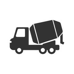 concrete mixer truck vector icon isolated on white background. concrete mixer truck flat icon for web, mobile and ui design