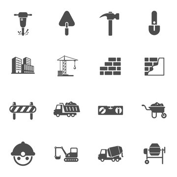 building construction industry vector icon set isolated on white background. construction flat icons for web, mobile and ui design