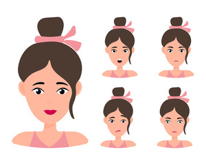 Female young character face set with different emotion. Brunette girl with happy, angry, unhappy, laughing, scared, wow, fun emotions. Vector Illustration
