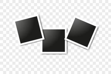 Set of realistic square frames, Vector Photo frame mockup design. Vector frames photo collage on transparent background. Vector illustration