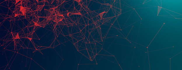 Abstract polygonal vector science background with connecting dots and lines.
