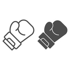 Boxing glove line and glyph icon. Sport equipment vector illustration isolated on white. Box outline style design, designed for web and app. Eps 10.