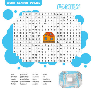 Puzzle and coloring activity page - word search puzzle - English. Family friendly. Answer included