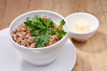 Bowl of tasty buckwheat porridge