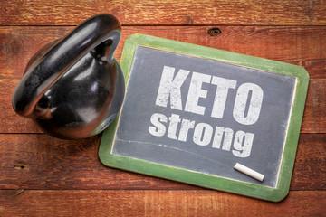 keto strong inspirational text on blackboard