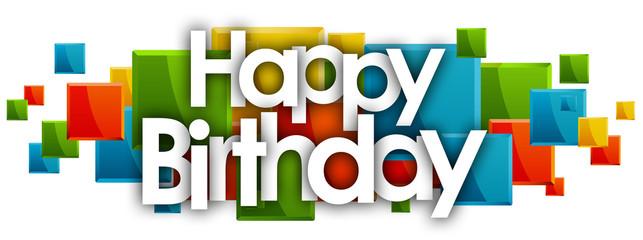 Fototapeta happy birthday word in rectangles background obraz