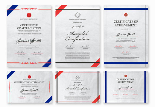 Set of Portrait and Landscape Certificate Layouts with Red and Blue Accents