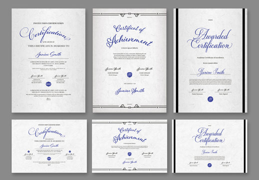 Set of Portrait and Landscape Certificate Layouts with Blue Accents