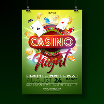 Vector Casino night flyer illustration with gambling design elements and shiny neon light lettering on green background. Luxury invitation poster template.