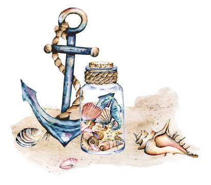 Seashells in glass jar, marine scenery. Watercolor anchor, seahorse, starfish and other shells on sea beach. Isolated on white background. Hand drawing.
