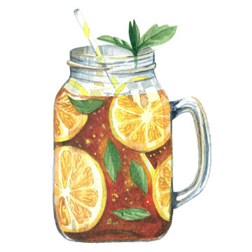 Watercolor illustration tea in mason jar
