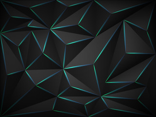 Fototapete - Low poly dark 3d background with blue neon  lines .