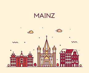 Wall Mural - Mainz skyline city Germany vector linear style
