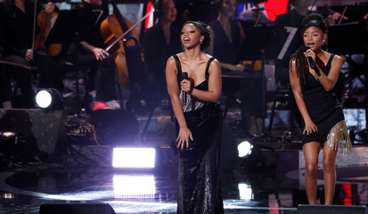 "Duo Chloe X Halle performs during the ""Motown 60: A Grammy Celebration"" concert at Microsoft theatre in Los Angeles"