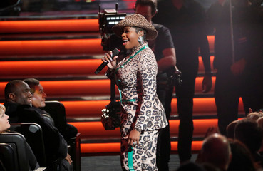 "Barrino performs during the ""Motown 60: A Grammy Celebration"" concert at Microsoft theatre in Los Angeles"