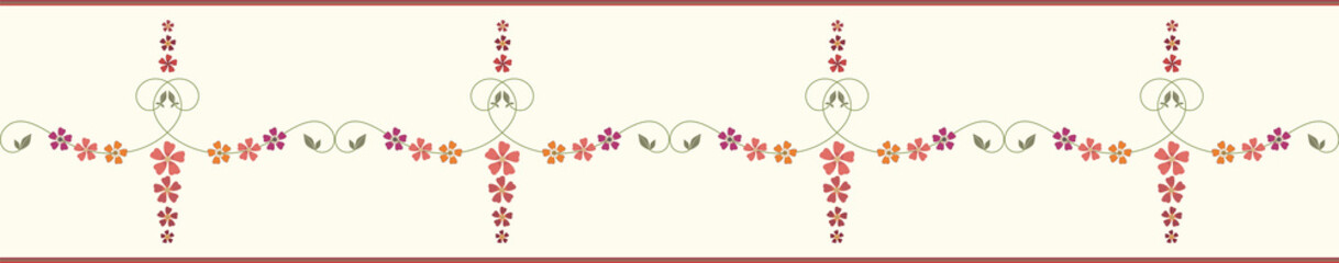 Decorative hand drawn floral border with striped edging. Orange, red, burgundy, purple flowers. Seamless vector pattern. Great for wellness, garden, organic products, giftwrap, stationery, packaging.