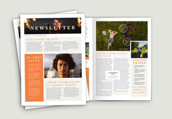 Newsletter with Orange Accents