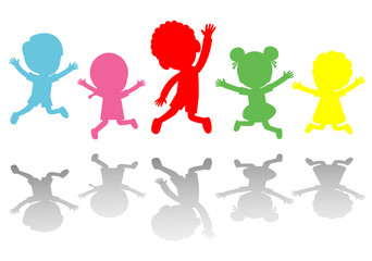 Cute kids jumping colorful ,Child silhouettes dancing, children silhouettes jumping on white background Vector illustration
