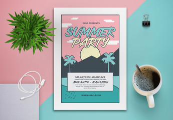 Colorful Summer Party Flyer with Graphic Palm Tree Sunset Illustration