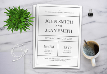 Minimalist Black and White Wedding Invitation