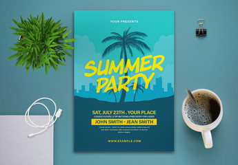 Blue Summer Party Flyer Layout with Palm Trees and Skyline