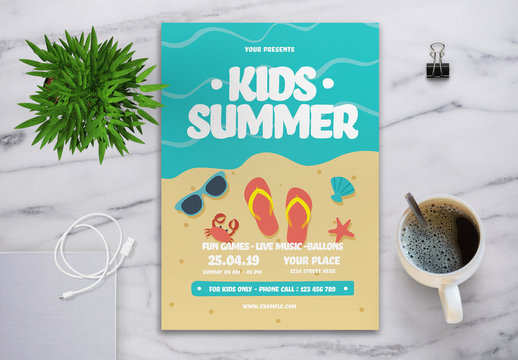 Kids Summer Event Flyer with Graphic Beach Illustration