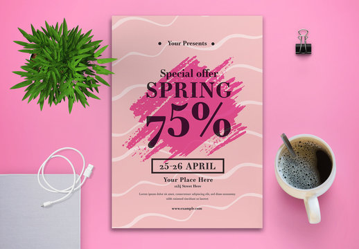 Seasonal Sale Flyer Layout with Pink Wave Accents