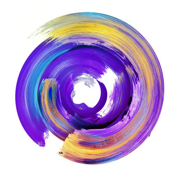 3d render, abstract round brush stroke, violet yellow paint splash, colorful splatter circle, artistic vivid spiral smear, isolated on white background