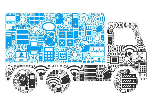 Delivery Car collage icon combined for bigdata and computing purposes. Vector delivery car mosaics are combined from computer, calculator, connections, wi-fi, network,