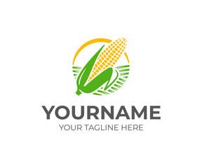 Ear of corn logo design. Maize crop vector design. Corn farming logotype