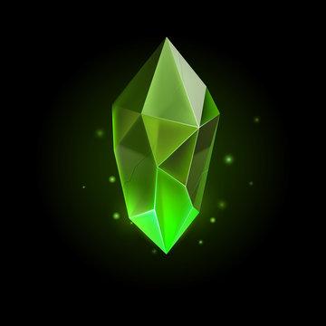 Green Mineral Crystal Precious Stone, Magic Crystal Gem. Precious Gem Icon. Luxury Symbol on the Black Background