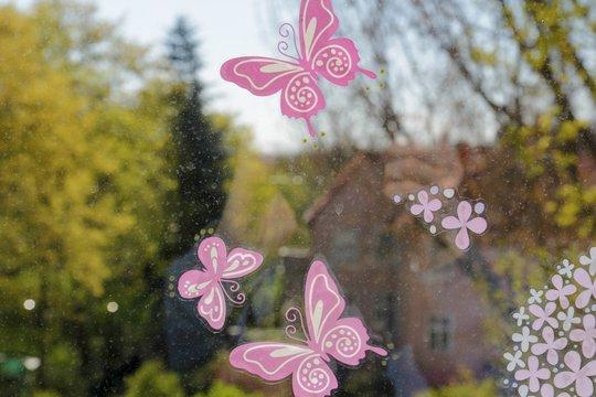 Schmetterlinge auf Fensterscheine