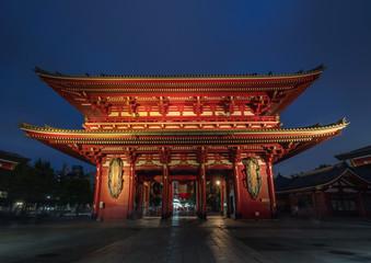 Sensoji-ji Red Japanese Temple in Asakusa at night, Tokyo, Japan