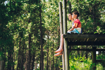 Brother and sister sitting on wooden platform in forest