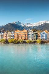 Fototapete - City of Innsbruck with Inn river, Tyrol, Austria
