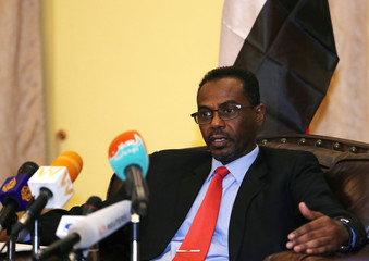 Jalal Eldin, Member of Sudan's Transitional Military Council speaks on the current situation in Sudan during a news conference in Addis Ababa