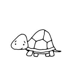 vector hand drawn doodle illustration of happy, smiling turtle,perfect as simple, cheerful template,cute card or a cartoon background with an animal theme for happy children,made in black and white
