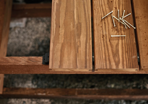 Decking board and screws