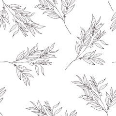 Seamless botanical line art pattern. Background with eucalyptus.