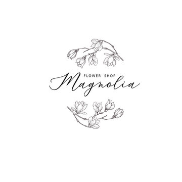Floral hand drawn design elements. Line art isolated on the white background.