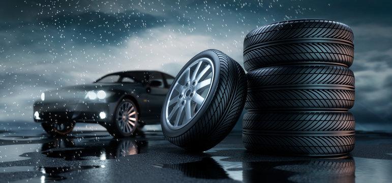 Reifenstapel mit Auto im Regen