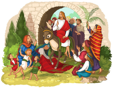 Entry of Our Lord into Jerusalem (Palm Sunday). Jesus Christ riding a donkey. Crowds welcome him with palm fronds, spread clothes before him
