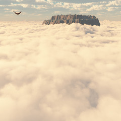 Wall Mural - Eagle above the clouds
