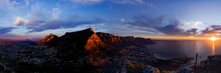 Table Mountain Sunset Pano Fototapete