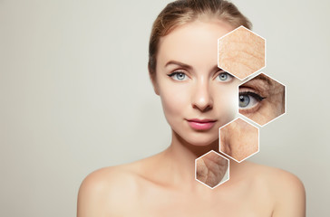 woman beauty portrait with graphic elements with old skin