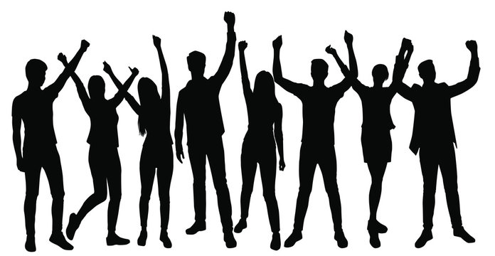 Vector silhouettes men and women standing, set, profile, hands up, different poses,  business,  people, group,  black color, isolated on white background