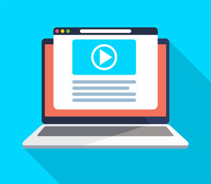 Video on computer, vector illustration in flat style.