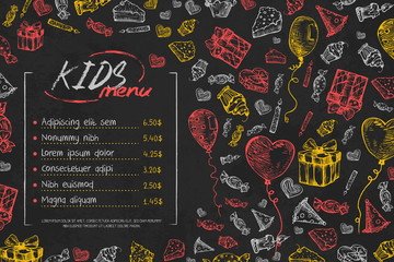 Kids birthday menu vector template, cute children birthday restaurant creative flyer, on black background. Chalk on blackboard hand drawn sketch style illustration Hand drawn vector illustration.