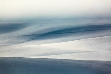 Snow covered hills of Palouse in winter outside Moscow, USA